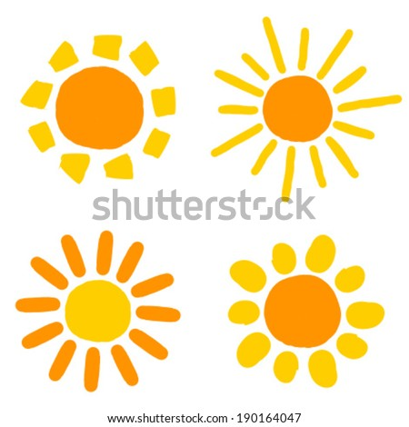 Painted doodle sun icons. Vector illustration - stock vector