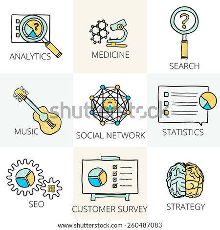 Painted Flat icons of medicine, search, music, guitar, social networks, statistics, SEO, customer survey, strategy, brain, mind, dander, chemicals, microscope. Flat design style modern vector concept - stock vector