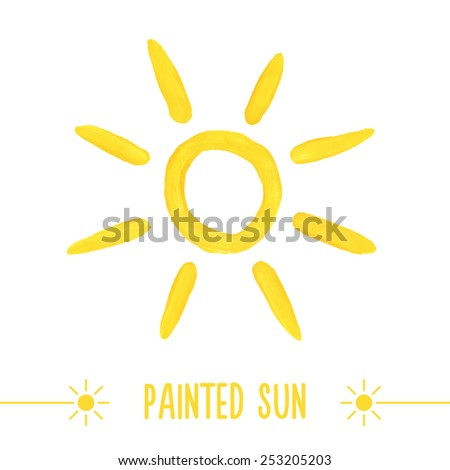 Painted hand drawn outlined sun. Vector illustration - stock vector