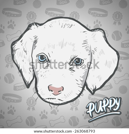 Painted head puppy on seamless background dog staff - stock vector