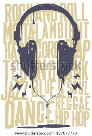 Painted Headphones with music - stock vector