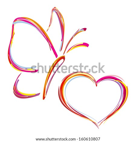 Painted heart and butterfly. Vector - stock vector