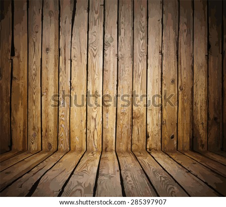 painted old wooden wall. brown room, vector - stock vector