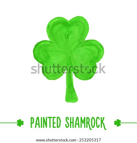 Painted shamrock for design of St. Patricks Day items. Isolated element for greeting card, cover, presentation, web site, banner, etc. - stock vector