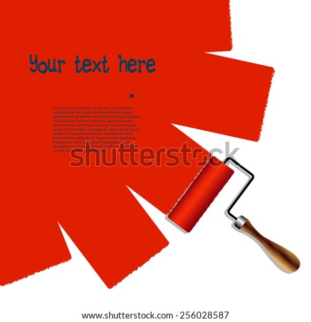 painted surface the roller with red paint - stock vector