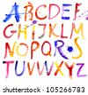 Painted watercolor alphabet. - stock vector