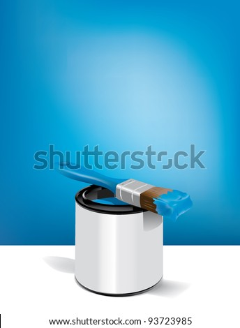 painter and paint bucket and brush - stock vector