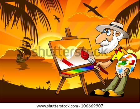 Painter draws on the tablet a beautiful landscape (illustration) - stock vector