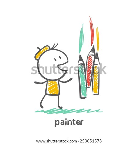 painter draws with crayons illustration - stock vector