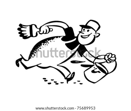 Painter In A Hurry - Retro Ad Art Illustration - stock vector