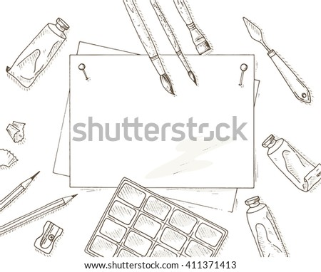 Painter tools set. Artist creative equipment sketch: brushes, paper sheet, pencil and paints. Hobby and leisure hand drawn illustration.  - stock vector