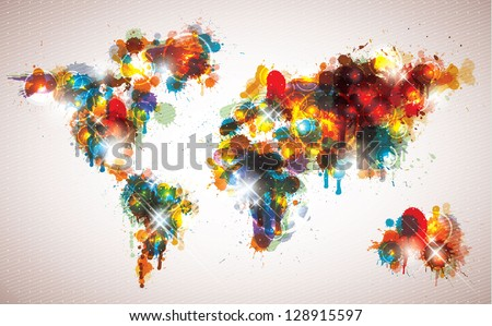 Painterly world map done in a cool contemporary color scheme. - stock vector
