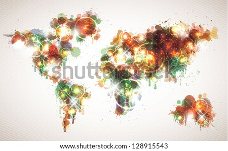 Painterly world map done in a warm contemporary color scheme. - stock vector