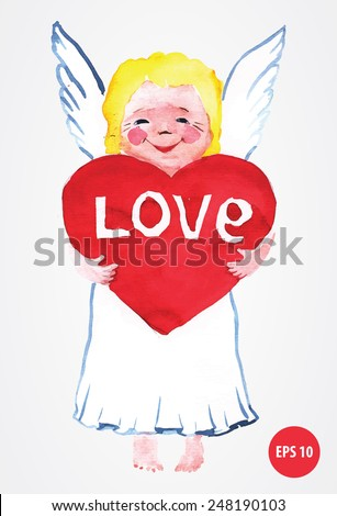 painting angel with red  heart, for valentine's day. Love and peace - stock vector
