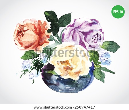 Painting bouquet, roses. Natural watercolor flowers - stock vector