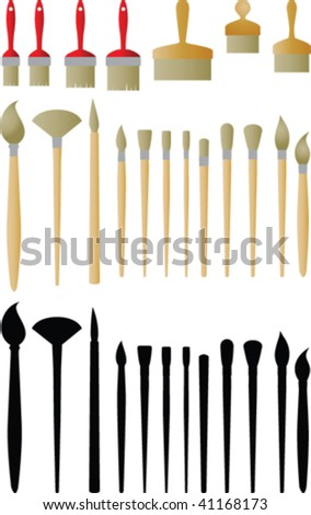Painting brushes vector collection - stock vector