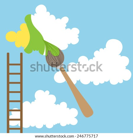 Painting clouds with brush and ladder - stock vector