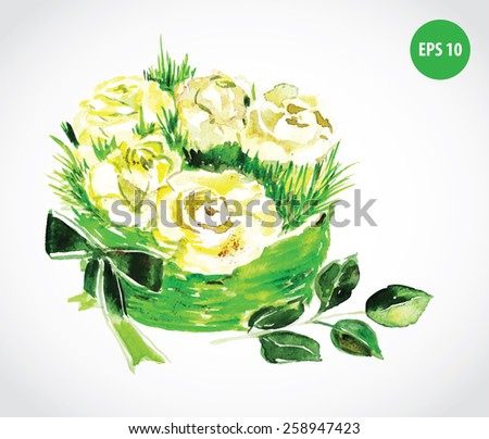 painting flowers, white roses with bow - stock vector