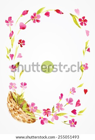 painting frame, by flowers. with basket, wicker - stock vector