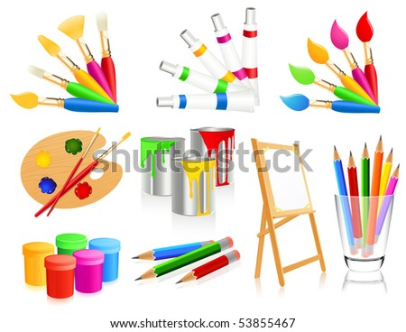 Painting icons, vector illustration - stock vector