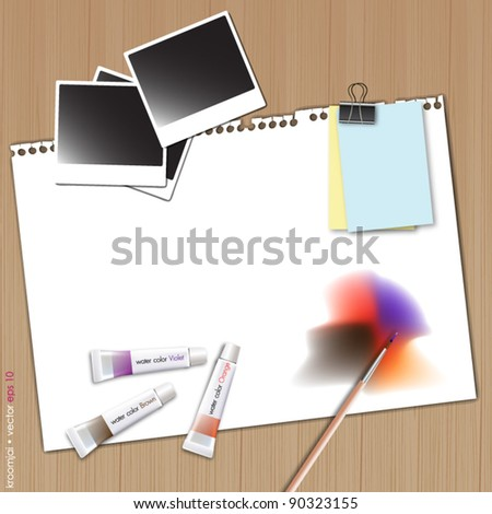 Painting on white paper with photo frame and water color on wood background - stock vector