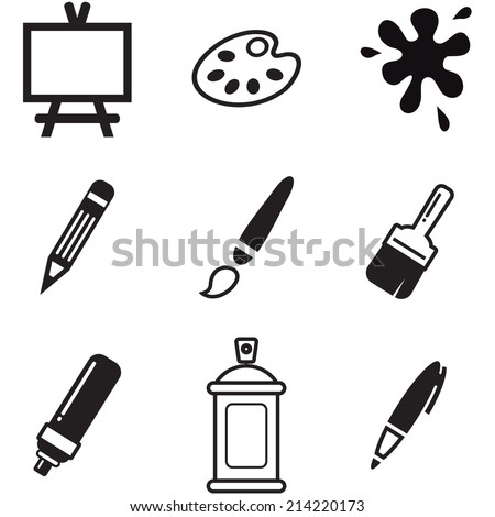 Painting Or Drawing Tools Icons - stock vector