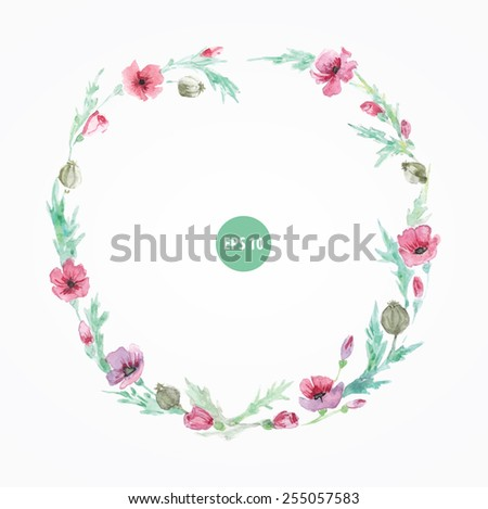 painting poppy border for open card, menu or wedding invition - stock vector