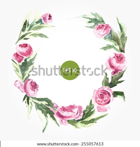 painting roses wreath, border for text or menu. Wedding invitation - stock vector