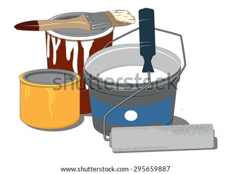painting tools and paint cans on white background - stock vector
