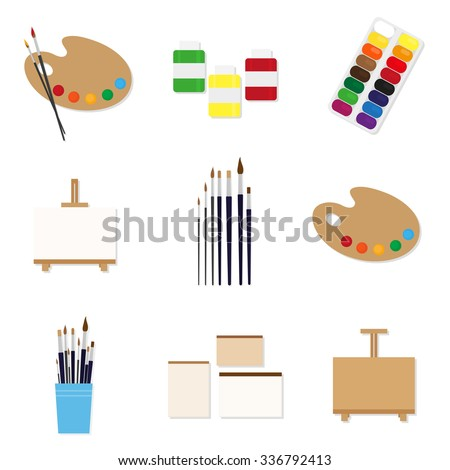 Painting tools set. Palette, paint brushes, easel, sketchbook and paper, moist colors, artist paints. Flat style artist items. - stock vector