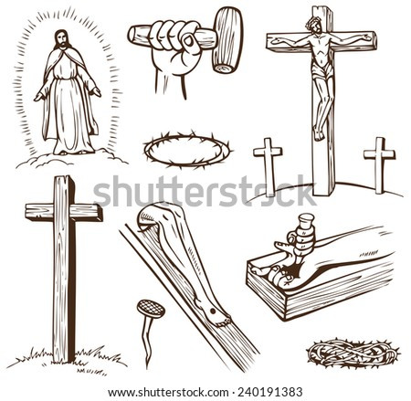 Paintings of the Crucifixion of Jesus Christ on a white background - stock vector