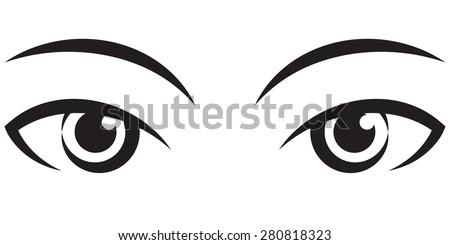 pair female expressive eyes. Vector black Icon - stock vector
