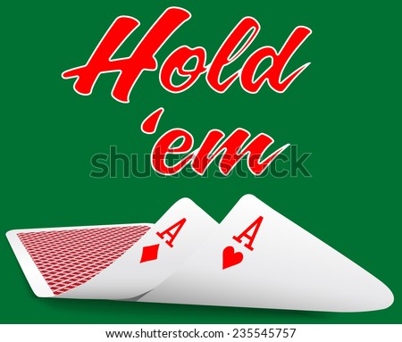 Pair of aces under as Texas Hold em winning poker hand cards - stock vector