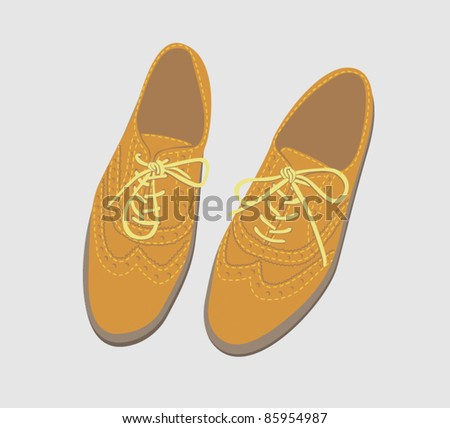 Pair of brogue shoes with laces tied - stock vector