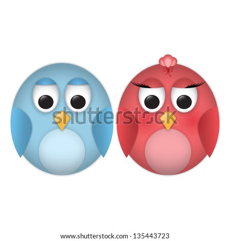 Pair of cartoon funny birds - stock vector