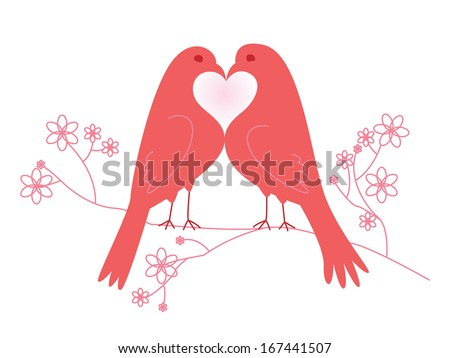 Pair of lovebirds. Valentine's Day. Vector illustration. Isolated on white background - stock vector