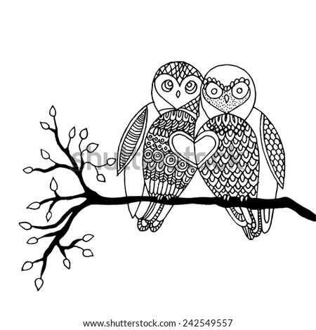 Pair of owl sitting on a branch.  - stock vector