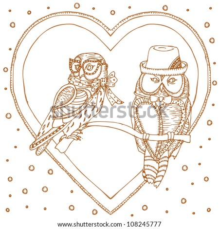 pair of owls in heart frame - stock vector