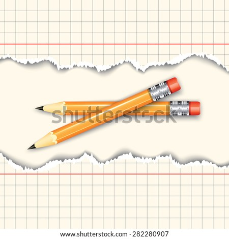 Pair of pencils between two torn paper sheets. Vector illustration - stock vector