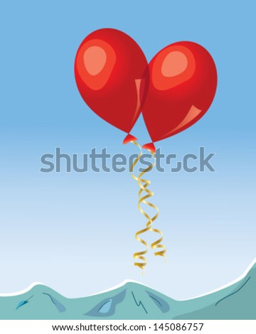 Pair of red balloons over blue background - stock vector