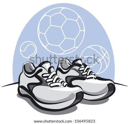 pair of sport sneakers - stock vector