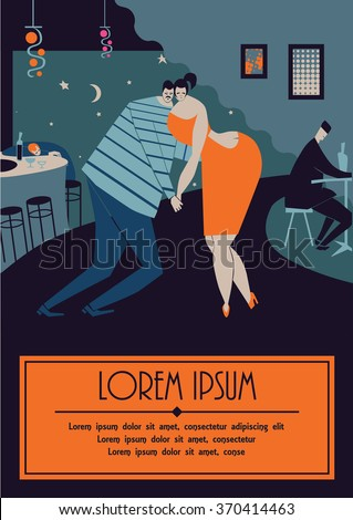 Pair of sweethearts dancing slow dance late night. Somebody is sleeping on the table. Cozy place, nice atmosphere, pretty couple of sailor and beautiful lady in orange dress. - stock vector