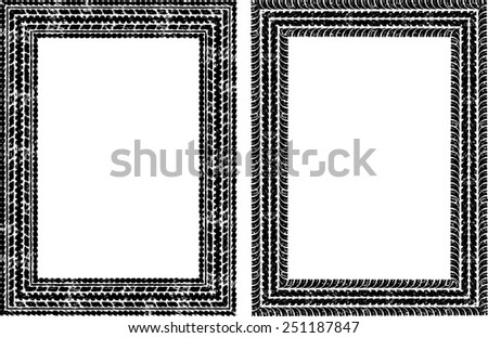Pair of vector frames in tire traces style - stock vector
