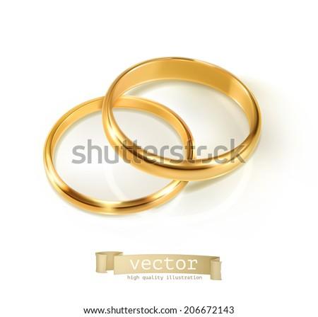 Pair of wedding rings, vector illustration - stock vector
