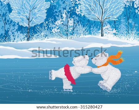 Pair of white little bears skating  - stock vector