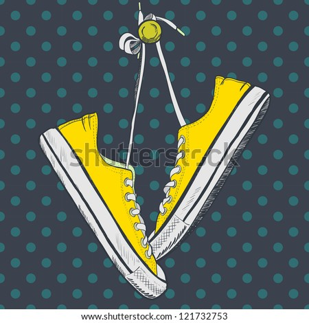 Pair of yellow sneakers on the polka dot background drawn in a sketch style. Sneakers hanging on a peg. Vector illustration. - stock vector