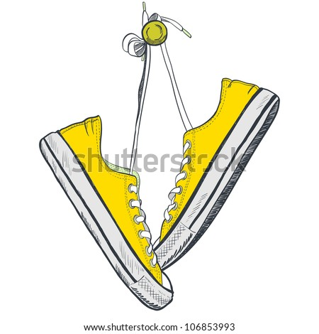Pair of yellow sneakers on the white background drawn in a sketch style. Sneakers hanging on a peg. Vector illustration. - stock vector