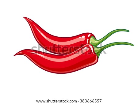 Pair red chile pepper vector illustration. Isolated white background. Transparent objects used for lights and shadows drawing - stock vector