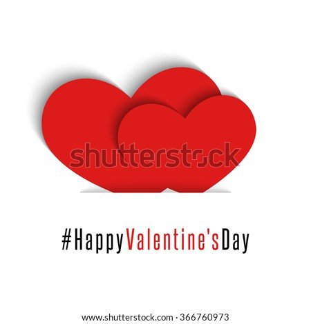 Pair red hearts, Happy Valentines Day card, mockup holiday greeting postcard, love romantic background - stock vector