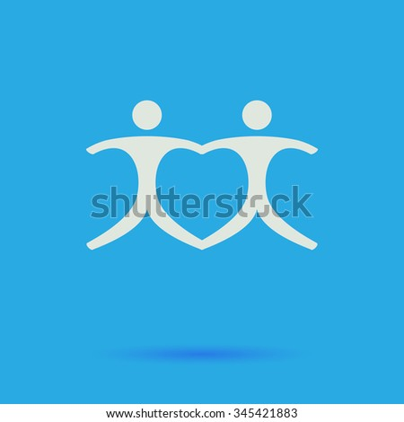 Pair White flat vector simple icon on blue background with shadow  - stock vector